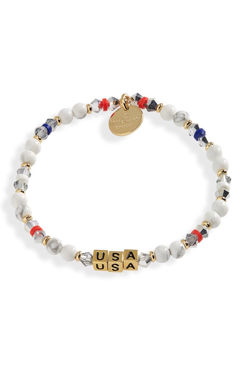 LITTLE WORDS PROJECT Team USA Stretch Bracelet, Main, color, SILVER-WHITE GOLD