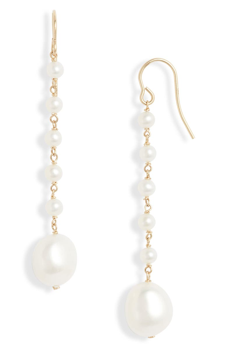 POPPY FINCH Baroque Pearl Drop Earrings, Main, color, YELLOW GOLD/ PEARL