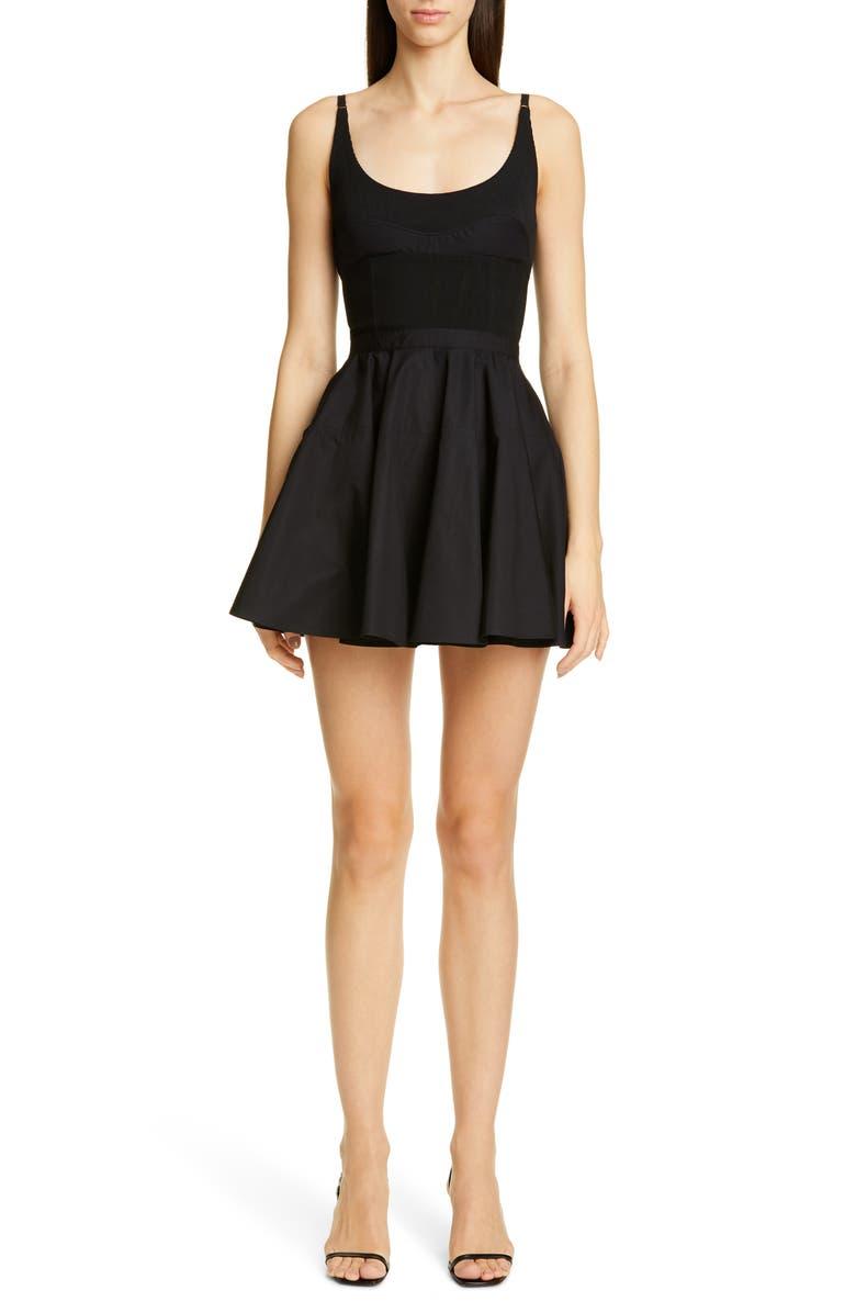 ALEXANDER WANG Mixed Media Fit & Flare Minidress, Main, color, BLACK