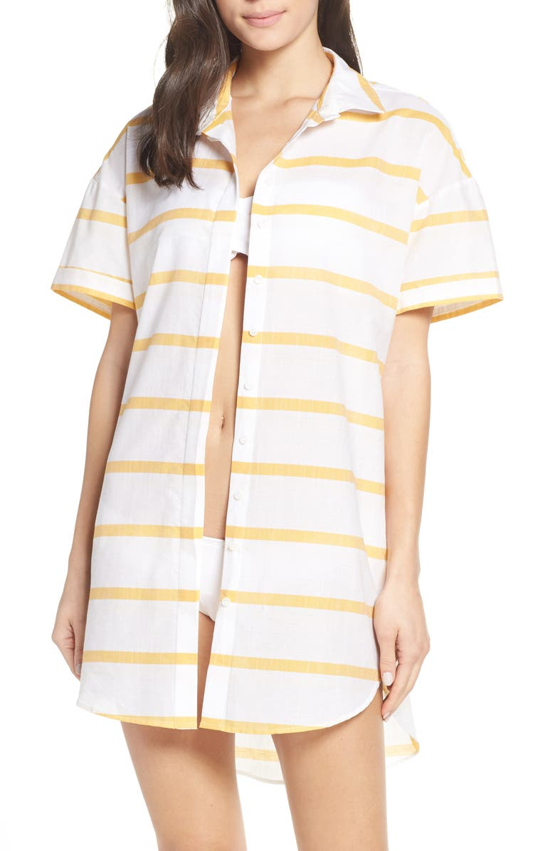 RED CARTER Cover-Up Shirt Dress, Main, color, AMBER