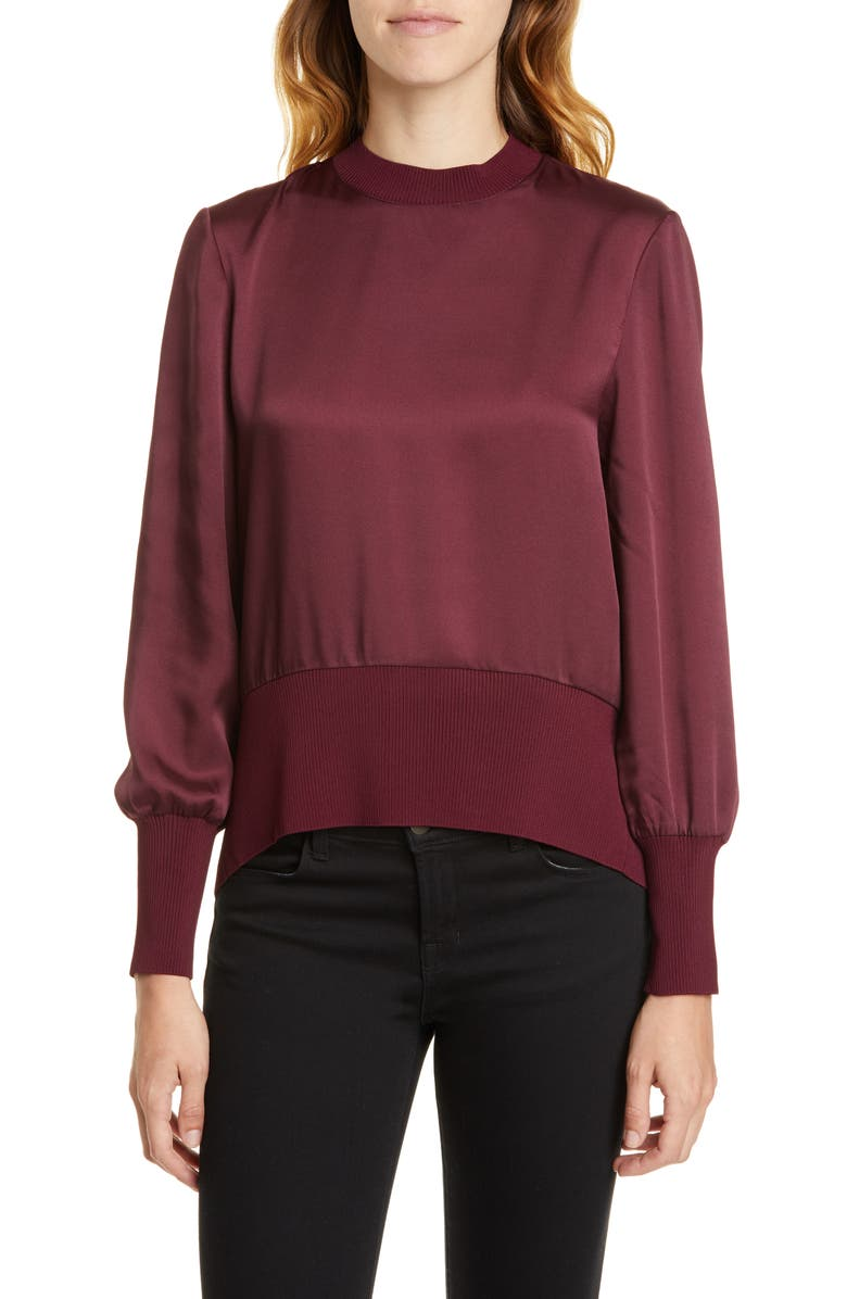 TED BAKER LONDON Wyonia Knit Trim Blouse, Main, color, OXBLOOD