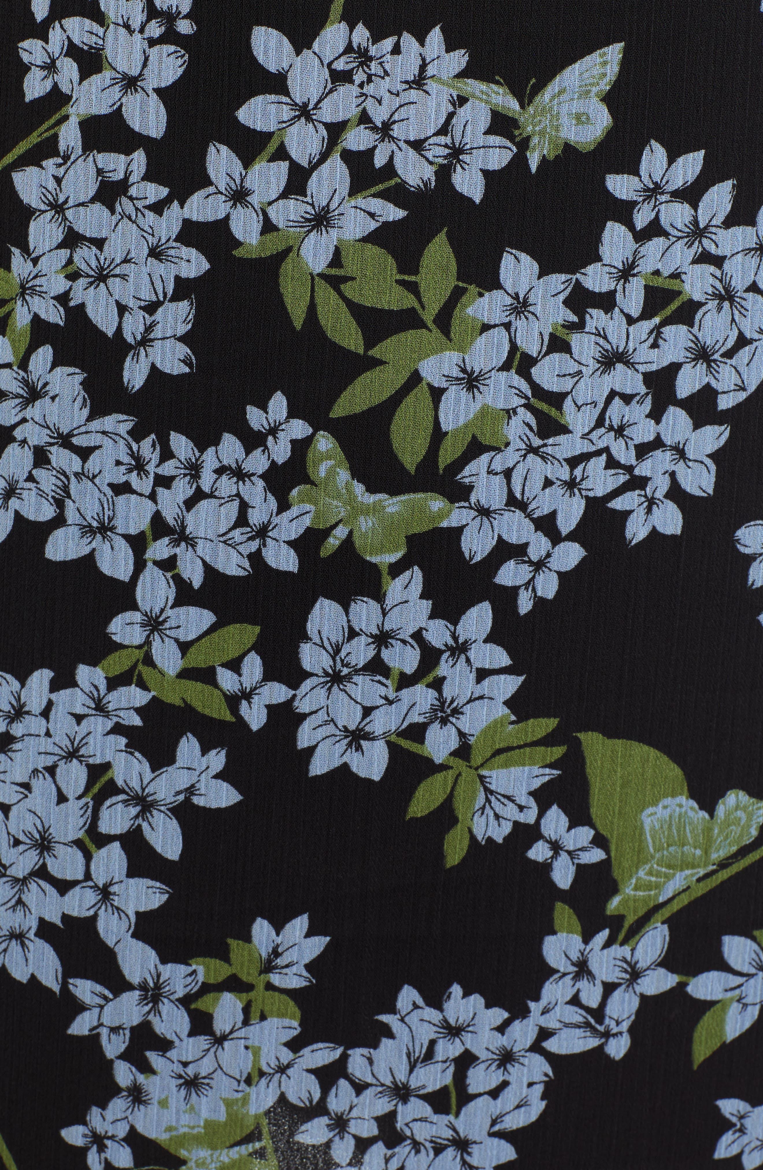 ,                             Stella Ruffle Strap Minidress,                             Alternate thumbnail 6, color,                             BLACK BLUE FLORAL