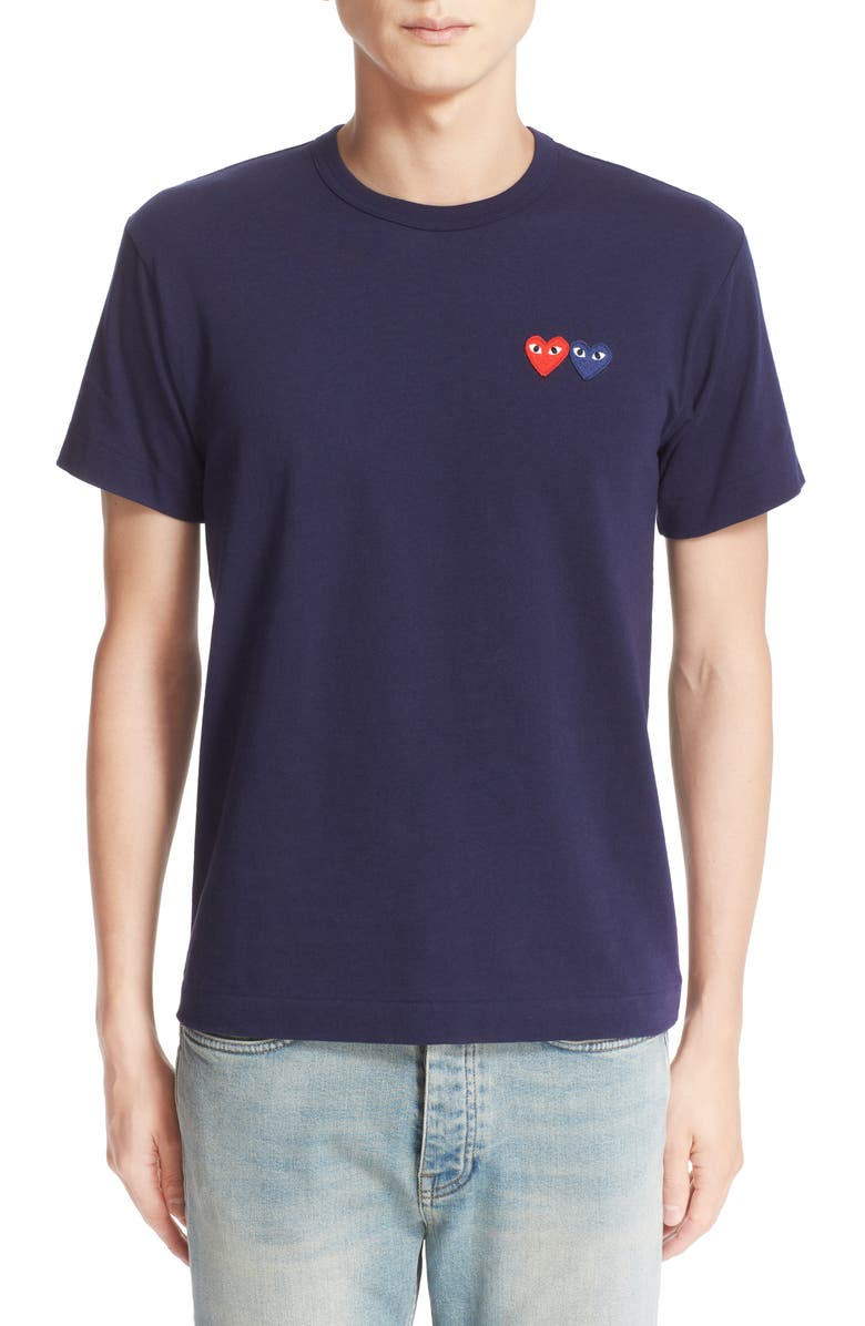 COMME DES GARÇONS PLAY Twin Hearts Slim Fit Jersey T-Shirt, Main, color, NAVY
