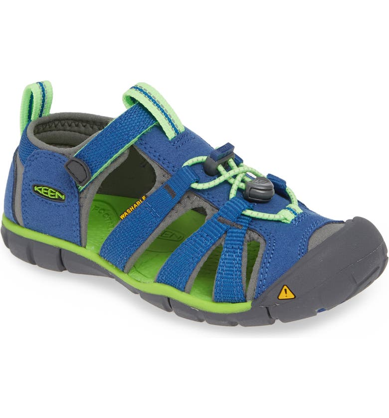 KEEN Seacamp II CNX Water Friendly Sandal, Main, color, TRUE BLUE/ JASMINE GREEN