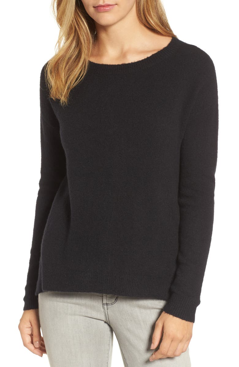 CASLON<SUP>®</SUP> Back Zip High/Low Sweater, Main, color, 001