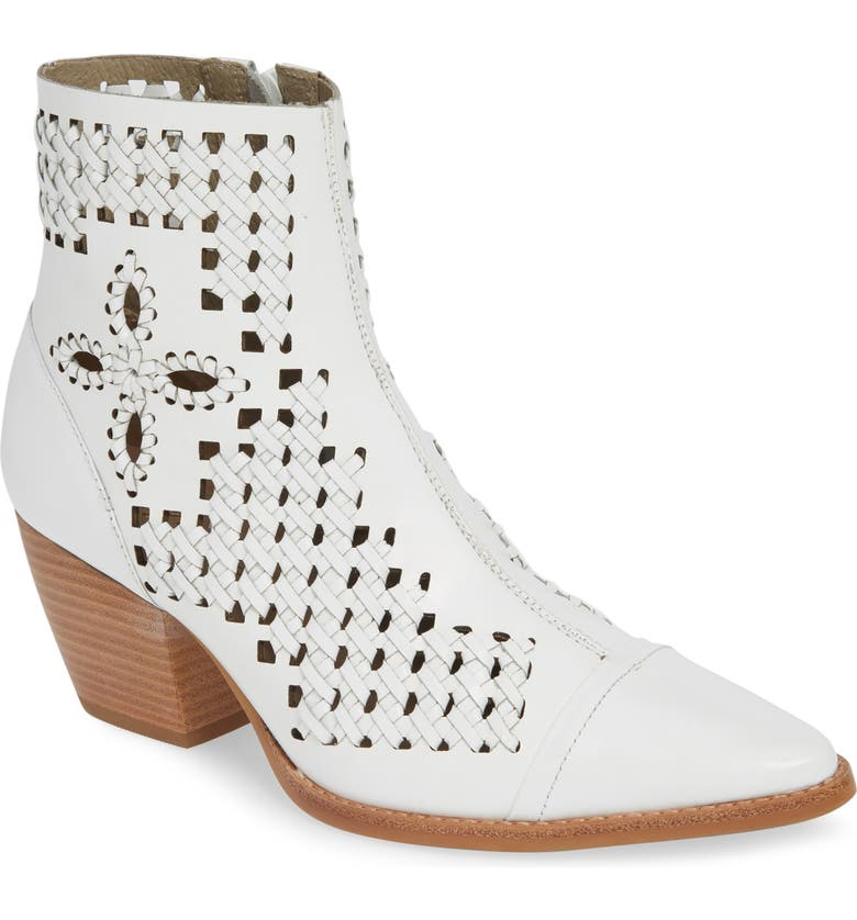 MATISSE Bello Woven Pointy Toe Bootie, Main, color, WHITE