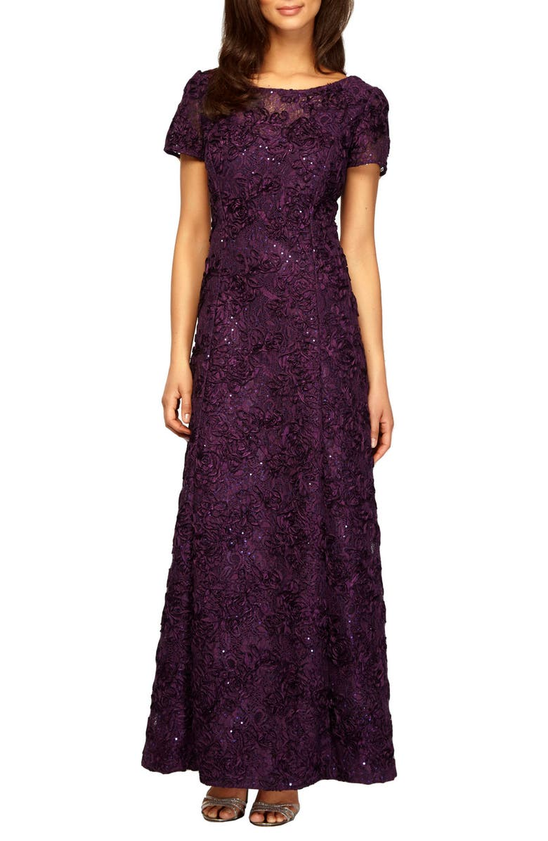 ALEX EVENINGS Embellished Lace Gown, Main, color, EGGPLANT