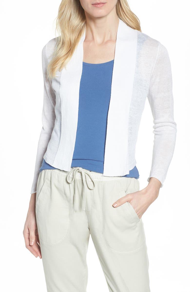 NIC+ZOE NIC + ZOE Daybreak Open Front Cardigan, Main, color, PAPER WHITE