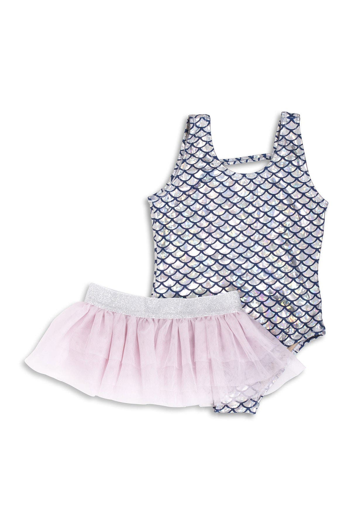 Image of Shade Critters Silver Metallic One-Piece Swimsuit & Tutu Set