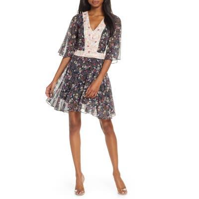 Cooper St Star Crossed Floral Flutter Sleeve Chiffon Minidress, Black