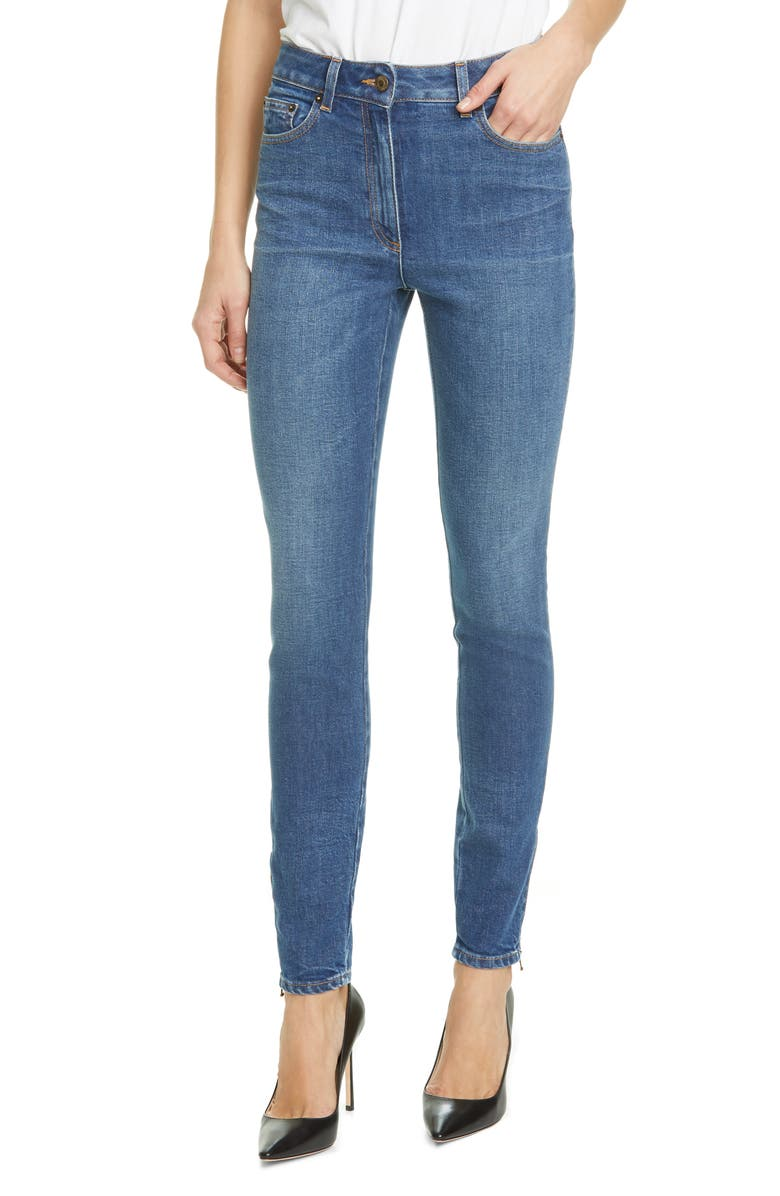 MOSCHINO Beaded Bear Skinny Jeans, Main, color, 0295 BLUE