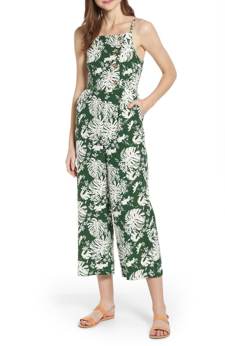 BP. Leaf Print Side Button Linen Blend Crop Jumpsuit, Main, color, 301