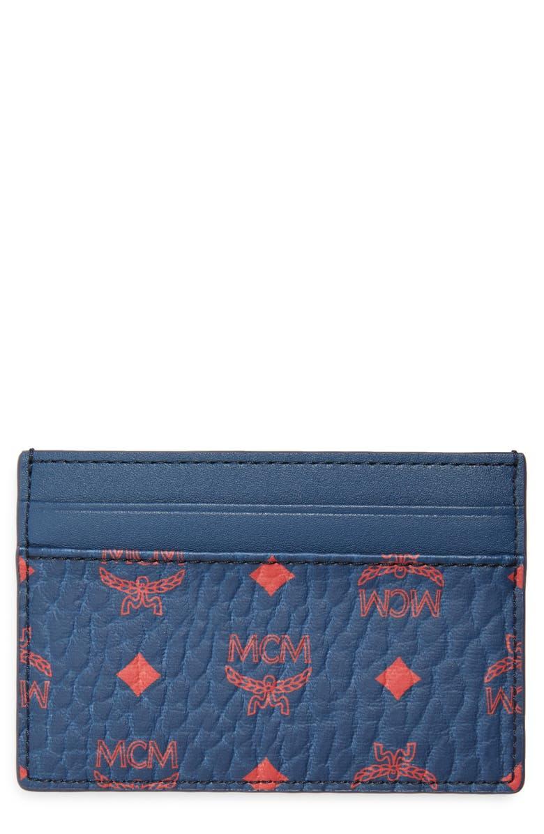 MCM Visetos Coated Canvas Card Case, Main, color, DEEP BLUE SEA