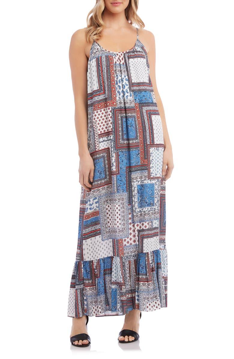 KAREN KANE Sleeveless Ruffle Hem Maxi Dress, Main, color, PRINT