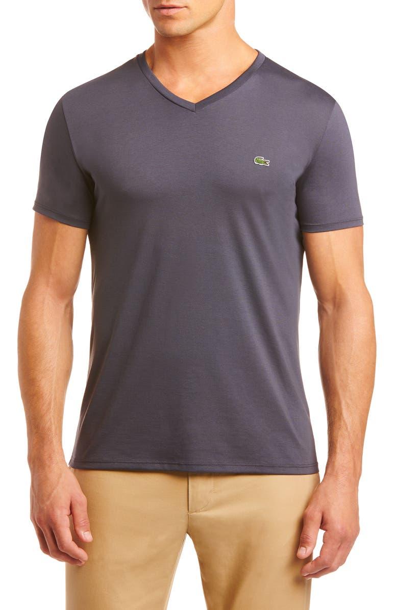 LACOSTE Regular Fit V-Neck T-Shirt, Main, color, GRAPHITE GREY