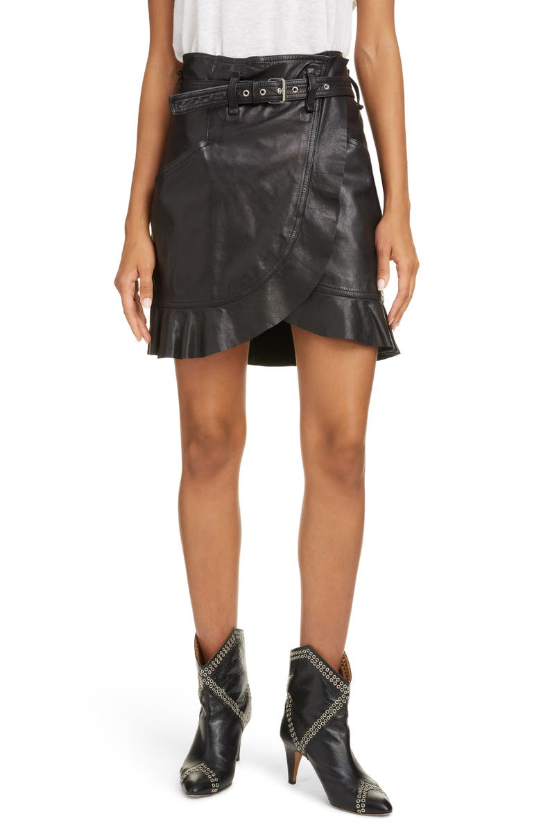 ISABEL MARANT ÉTOILE Qing Leather Miniskirt, Main, color, 001