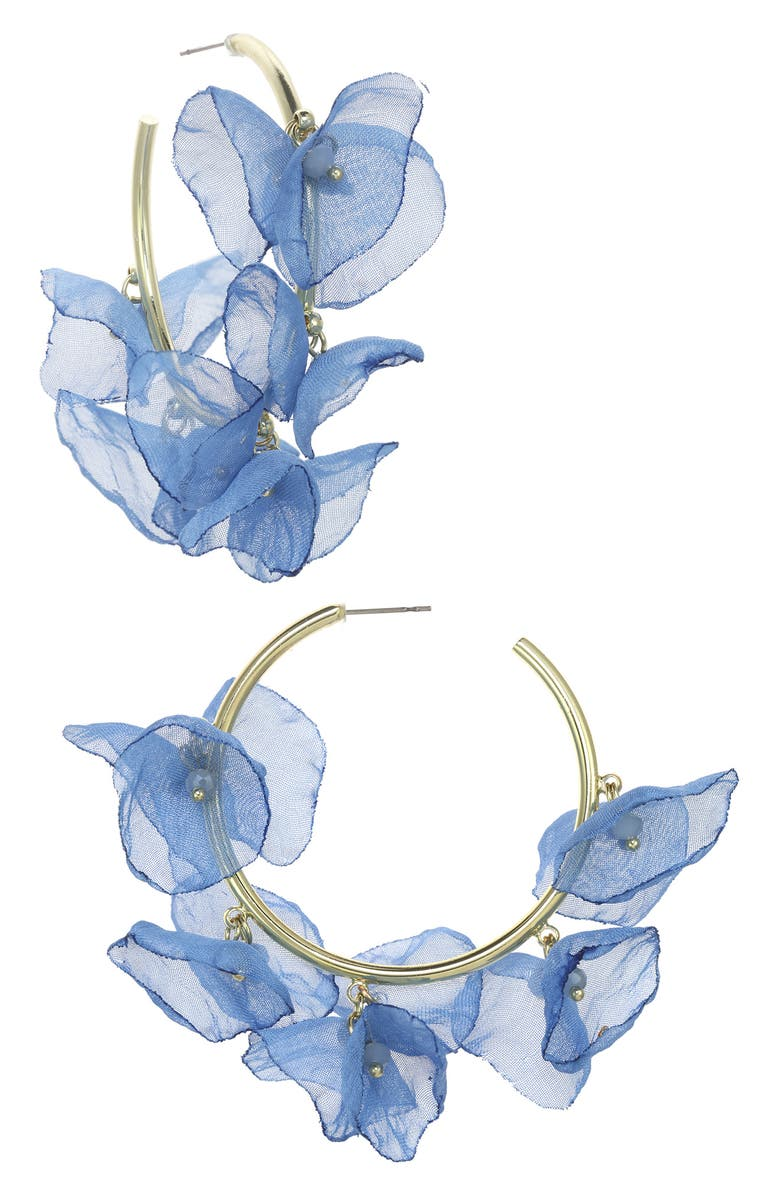 STELLA + RUBY Chiffon Petal Hoop Earrings, Main, color, GOLD-SKY BLUE