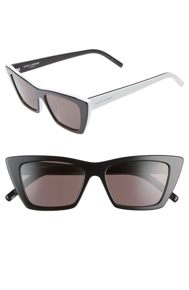 SAINT LAURENT 53mm Cat Eye Sunglasses, Main, color, BILAYER BLACK / WHITE/ GREY