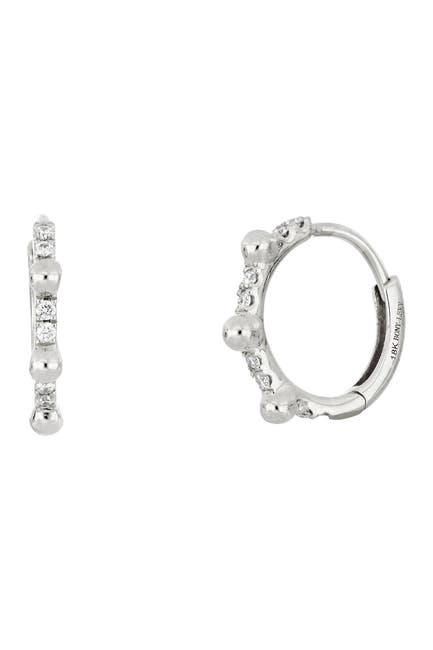 Image of Bony Levy 18K White Gold Bead & Diamond Huggie Earrings - 0.09 ctw