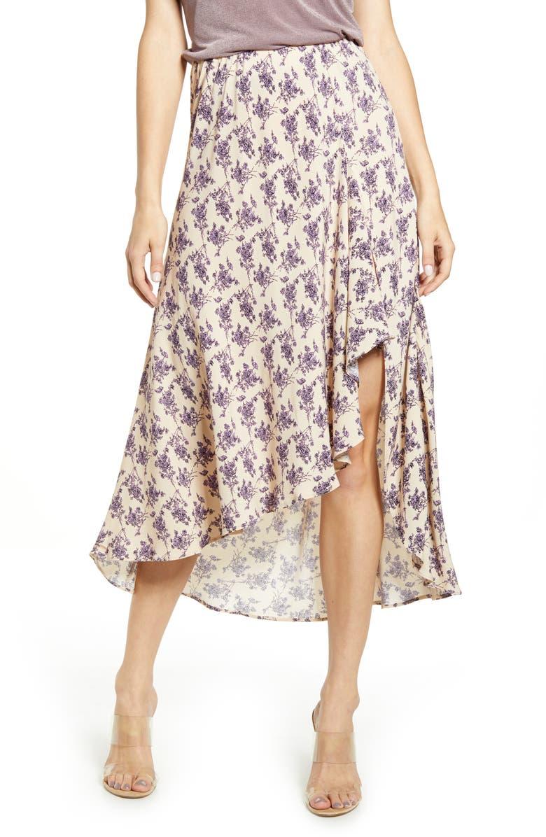 CODEXMODE Lilac Print Ruffle Skirt, Main, color, LILAC PRINT