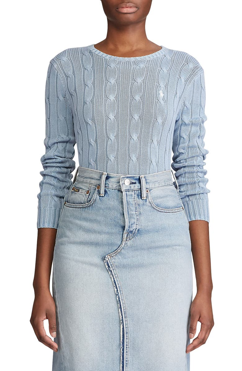 POLO RALPH LAUREN Julianna Cable Sweater, Main, color, CHAMBRAY