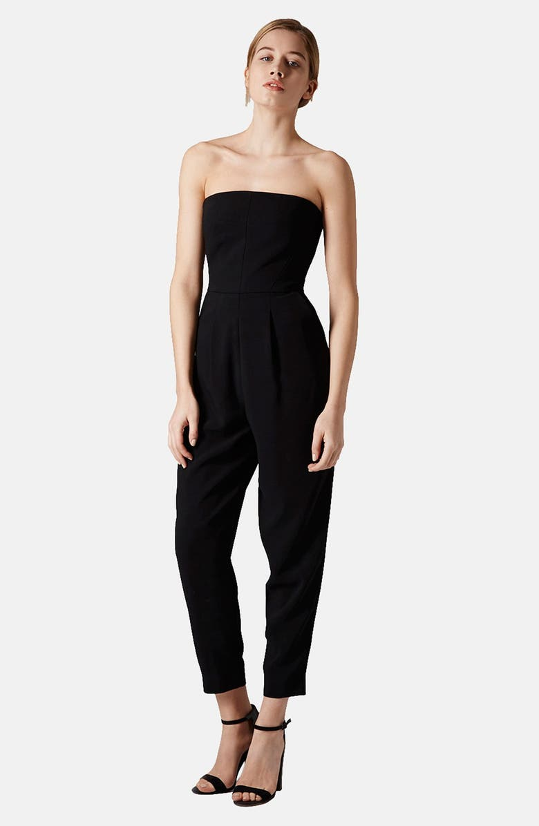 TOPSHOP Tailored Strapless Jumpsuit, Main, color, 001