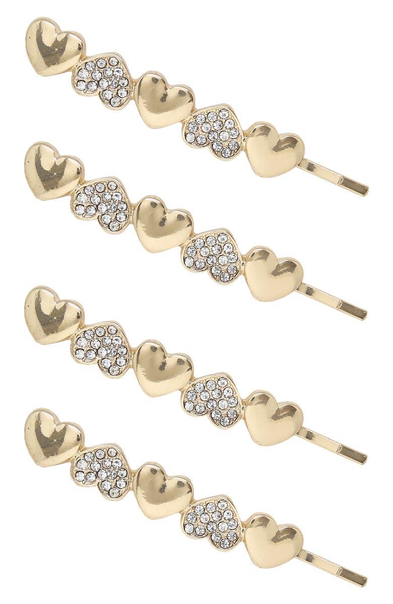 ETTIKA 4-Pack Crystal Heart Bobby Pins, Main, color, Gold