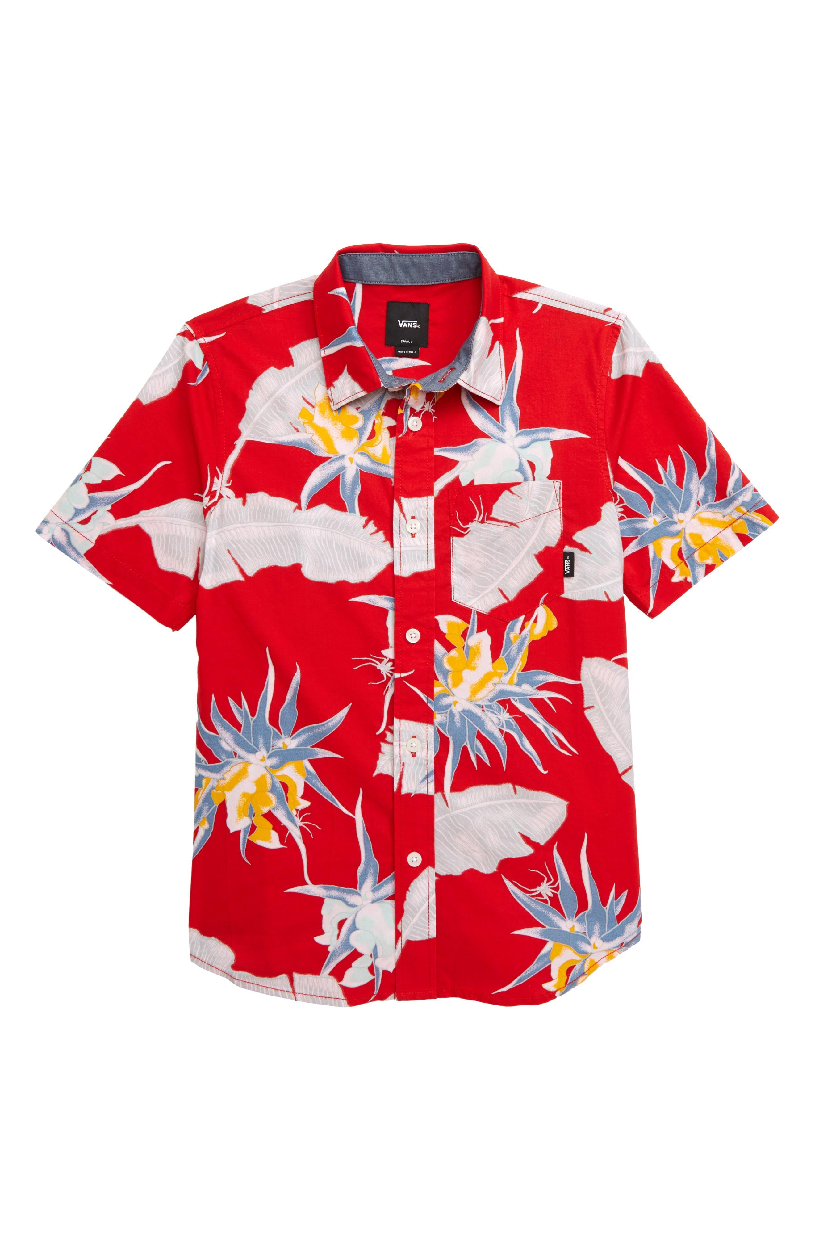 ,                             Arachnofloria Woven Shirt,                             Main thumbnail 1, color,                             RACING RED ARACHNO FLORIA