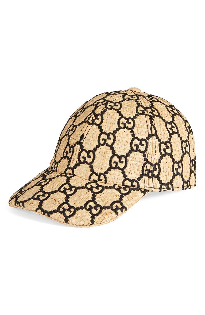 GUCCI Aisha Genuine Snakeskin Trim GG Embroidered Raffia Baseball Cap, Main, color, IVORY/ BLACK