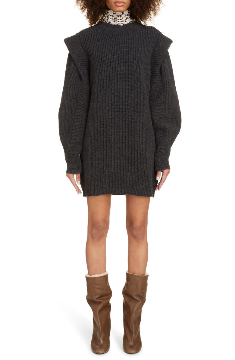 ISABEL MARANT Layered Long Sleeve Cashmere & Wool Sweater Dress, Main, color, ANTHRACITE