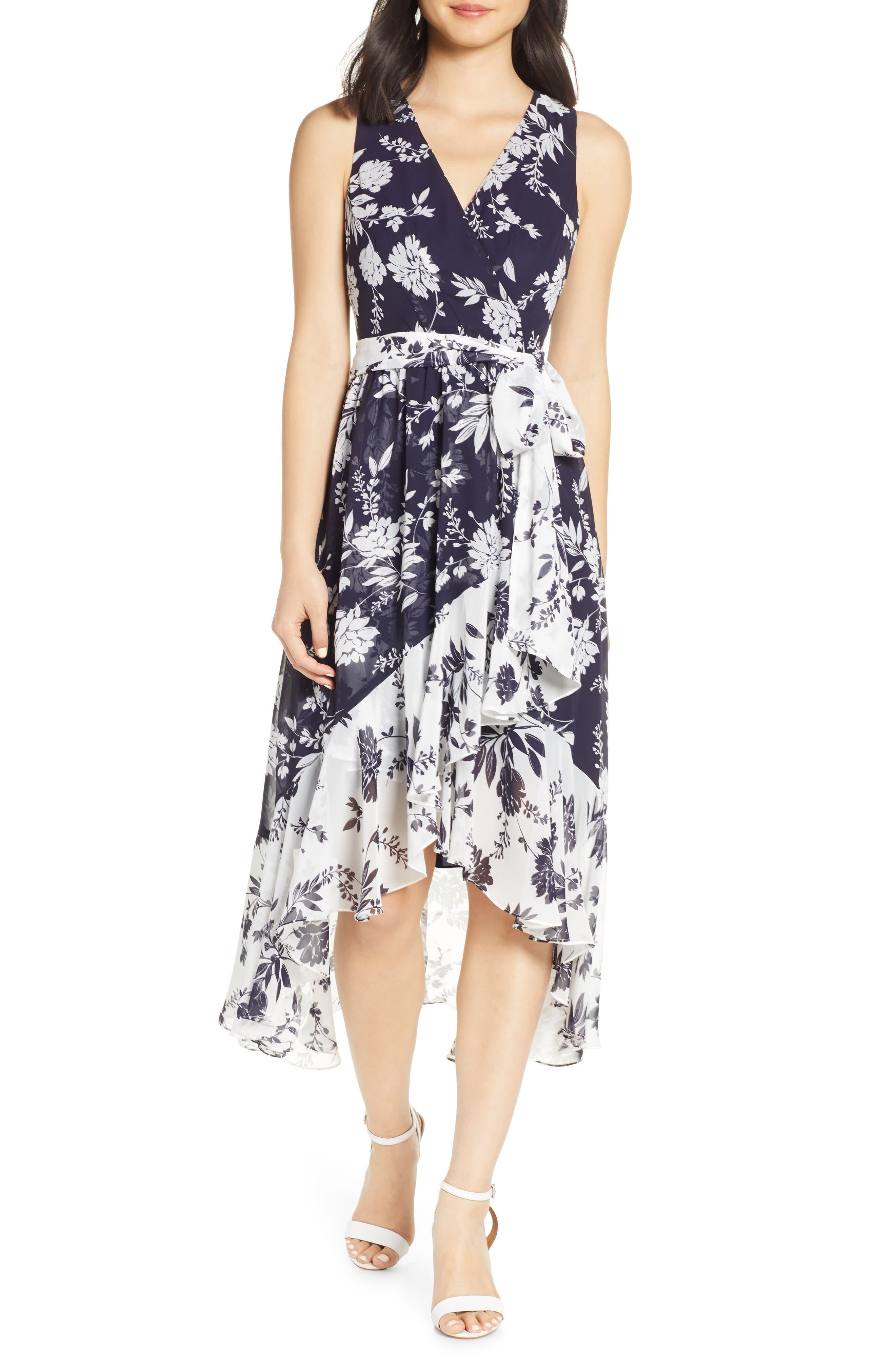 Eliza J Chiffon High/low Faux Wrap Midi Dress, Blue
