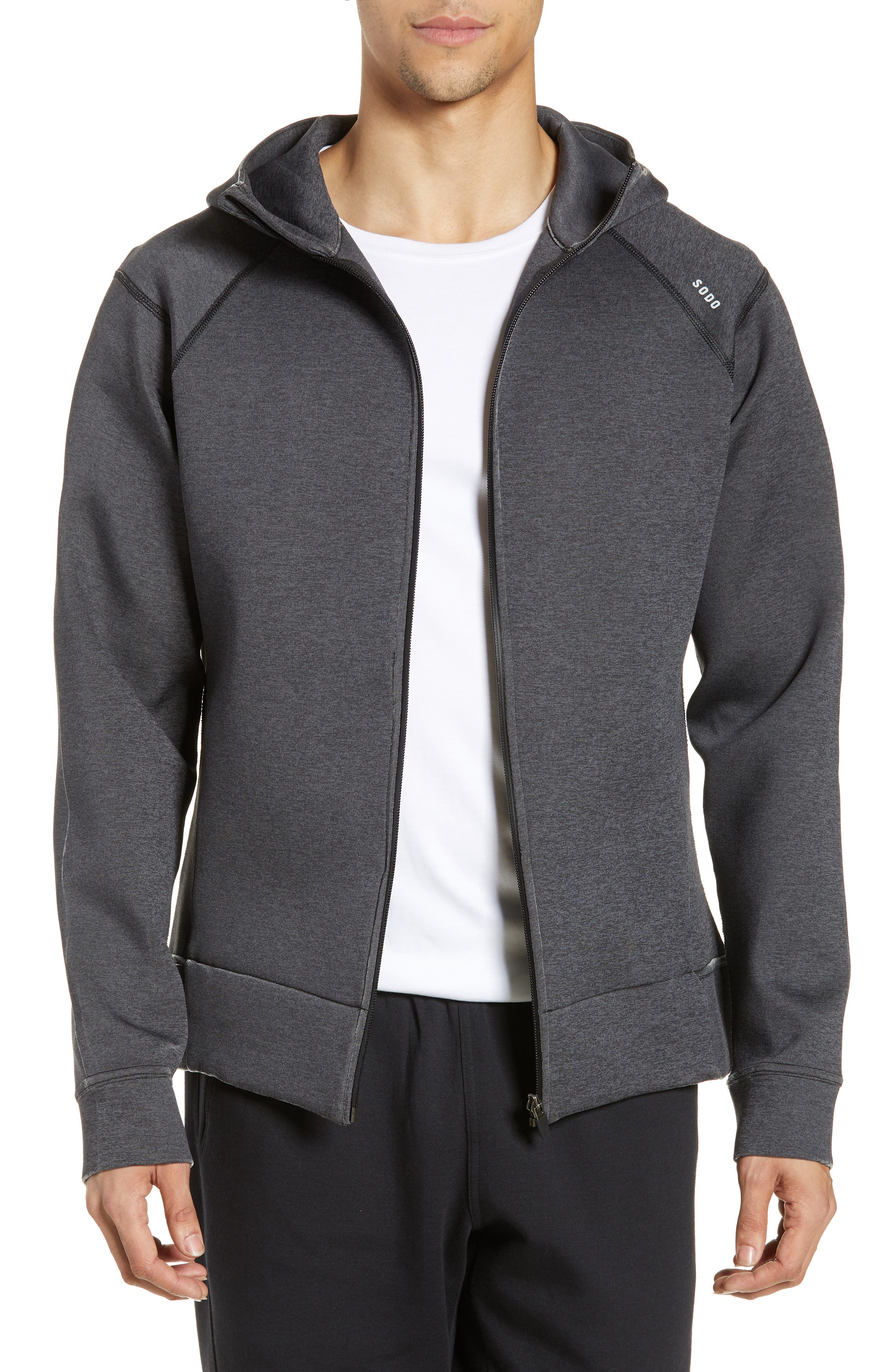425 Tech Fleece Zip Hoodie, Main, color, HEATHER CHARCOAL