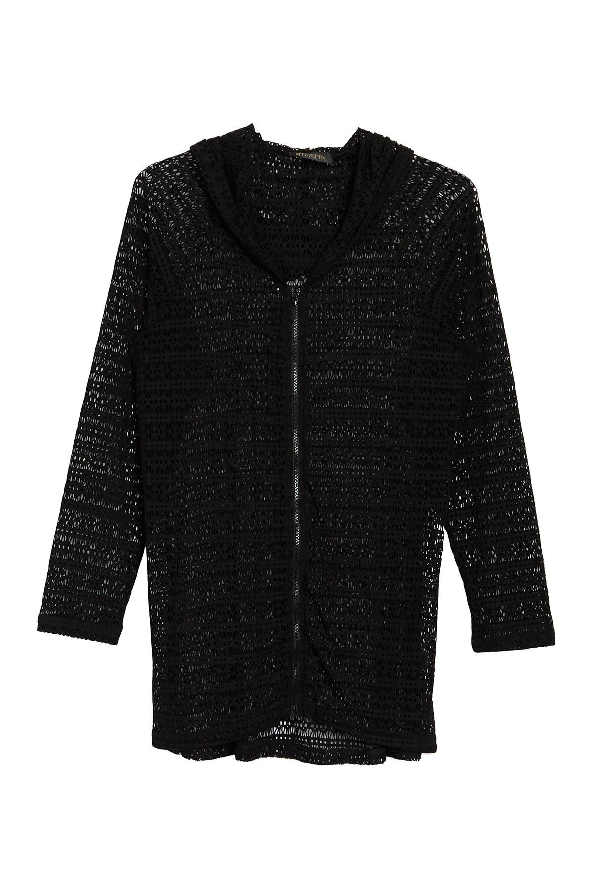 Image of Athena Crochet Knit Cover-Up Hoodie