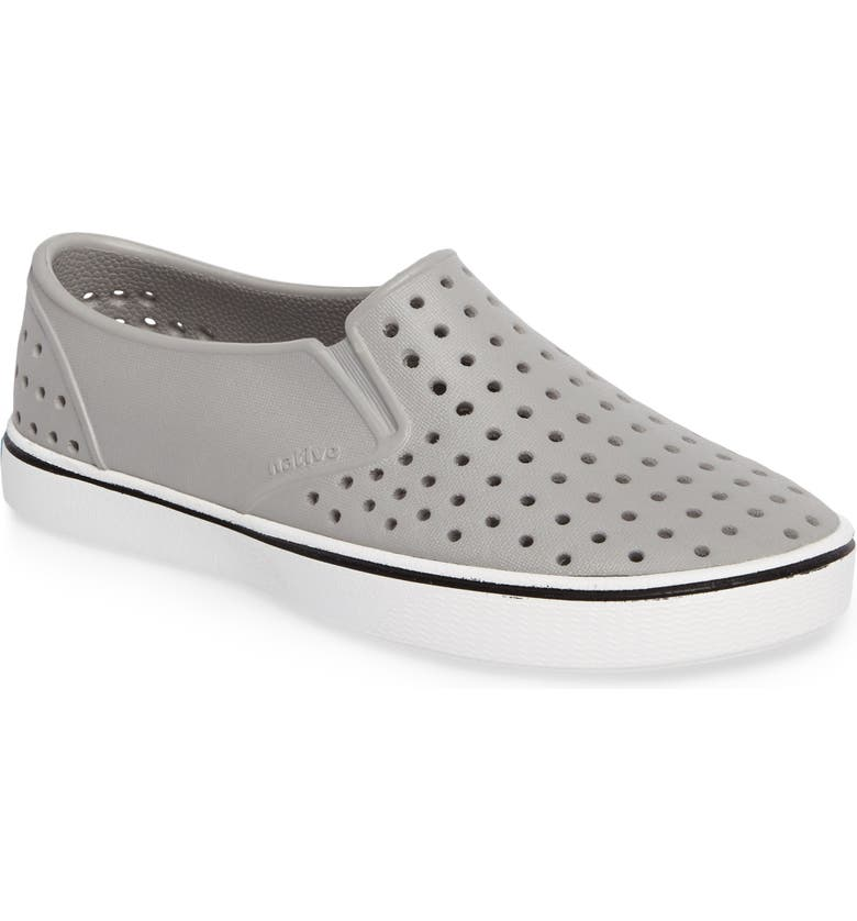 NATIVE SHOES Miles Water Friendly Slip-On Sneaker, Main, color, PIGEON GREY/ SHELL WHITE