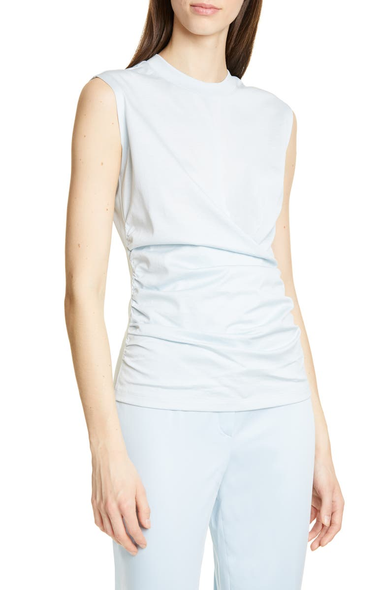 BOSS Esonita Ruched Cotton Jersey Tank Top, Main, color, BLUE DUST