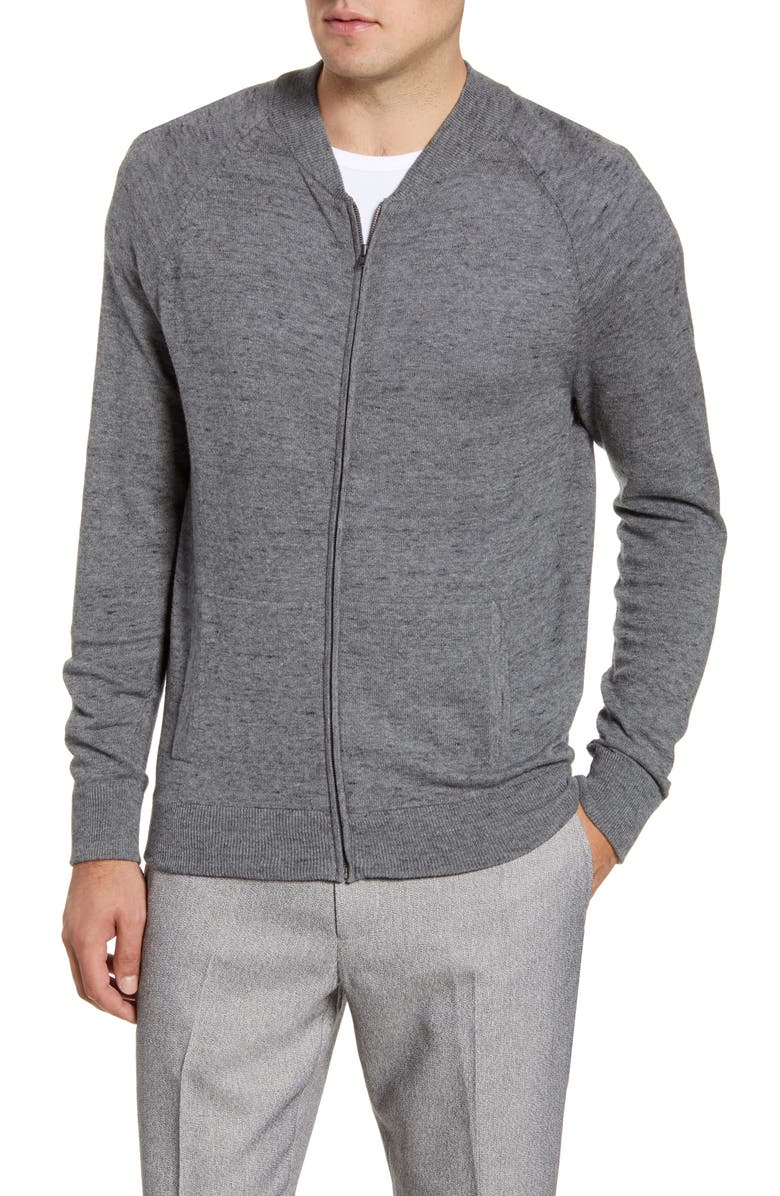 NORDSTROM MEN'S SHOP Baseball Zip Cardigan, Main, color, GREY SHADE SPACEDYE