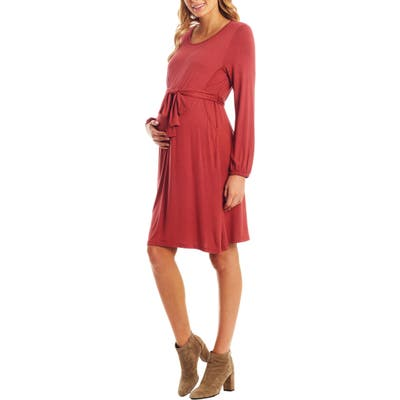 Everly Grey Alina Long Sleeve Jersey Maternity/nursing Dress, Red