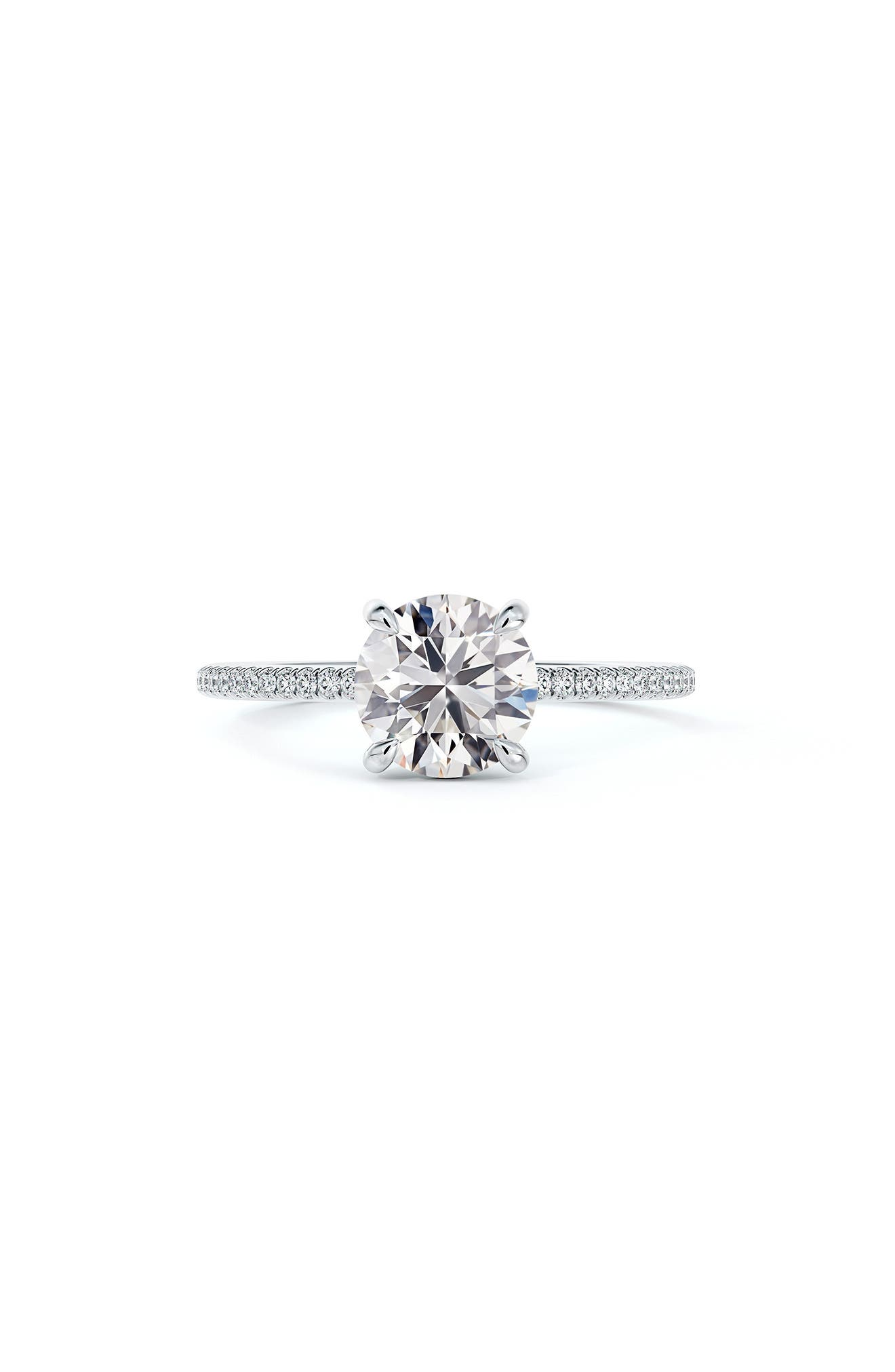 Delicate Icon(TM) Setting Round Diamond Engagement Ring With Diamond Band