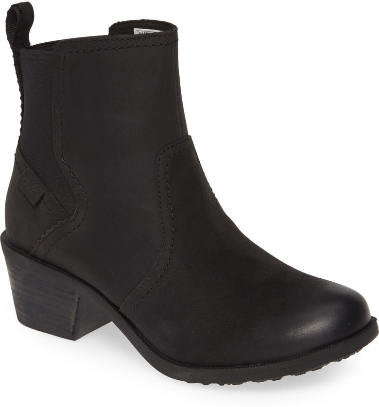 TEVA Anaya Waterproof Chelsea Boot, Main, color, BLACK LEATHER