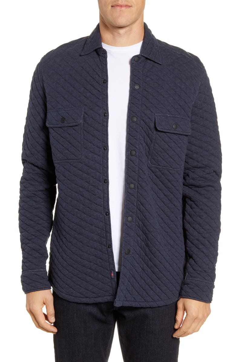 FAHERTY Belmar Quilted Shirt Jacket, Main, color, DARK NAVY HEATHER