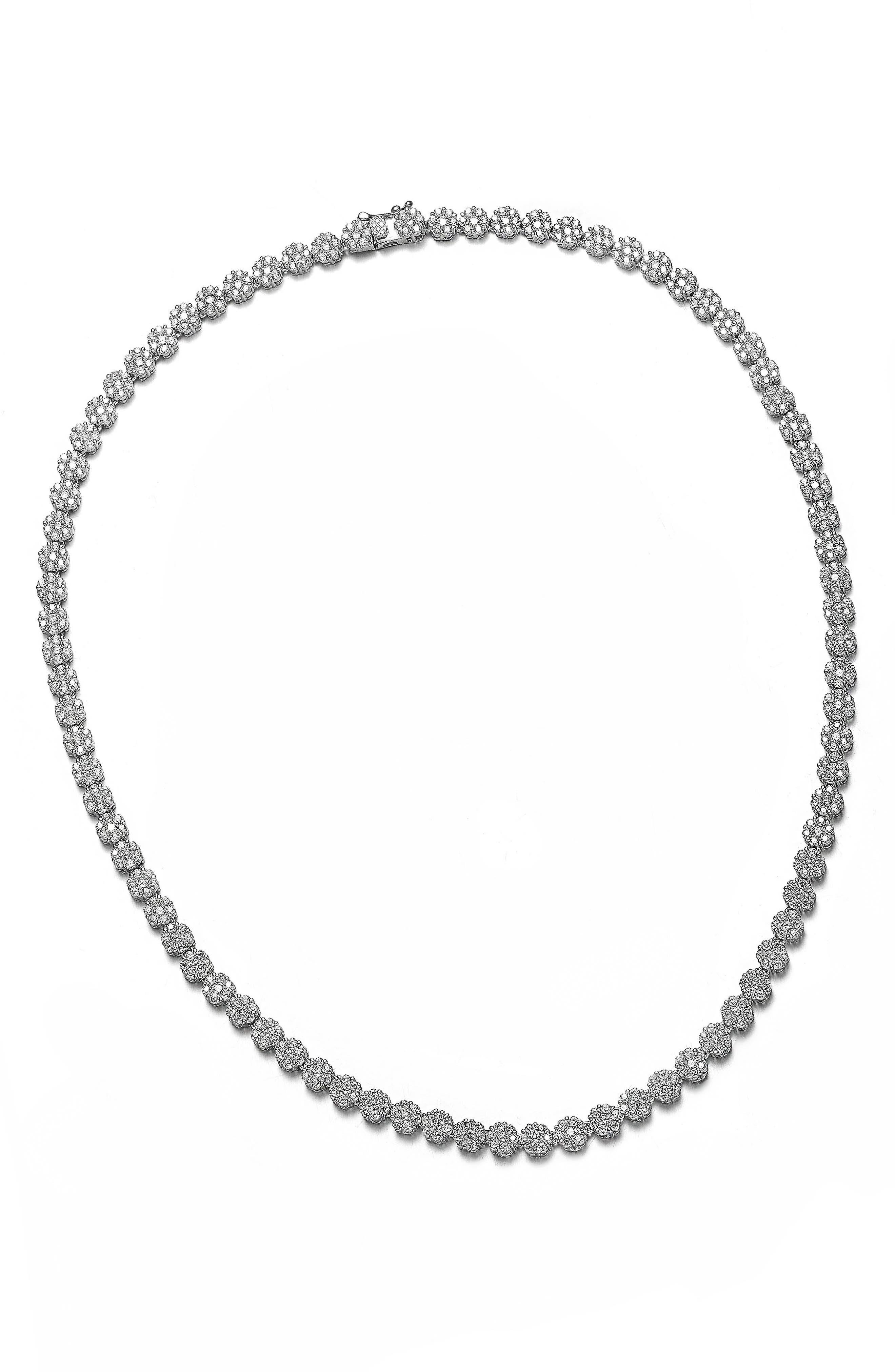 Cubic Zirconia Flower Tennis Necklace