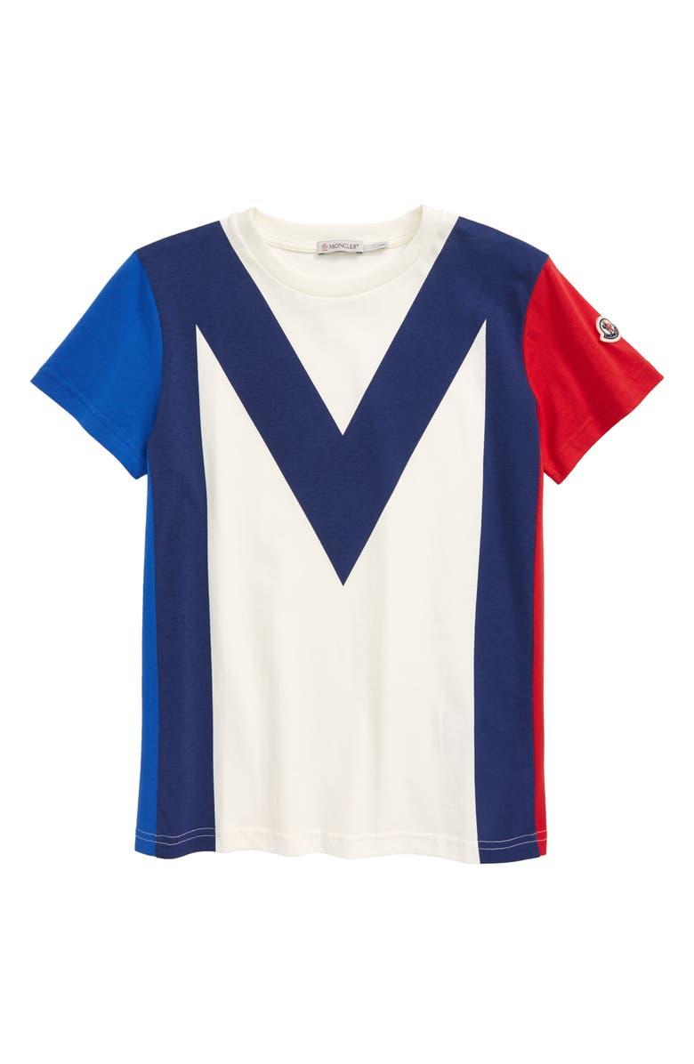 MONCLER Short Sleeve Jersey T-Shirt, Main, color, WHITE