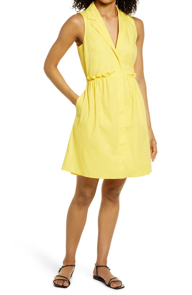 ELIZA J Paperbag Waist Shirtdress, Main, color, YELLOW