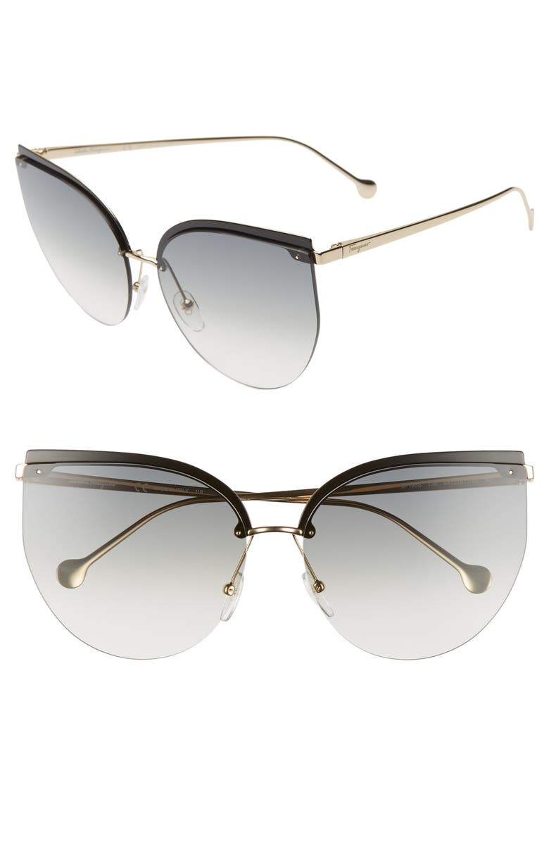SALVATORE FERRAGAMO 64mm Oversize Rimless Cat Eye Sunglasses, Main, color, GREY/ GOLD