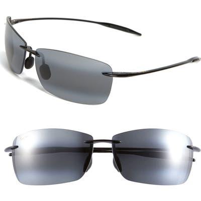 Maui Jim Lighthouse 65Mm Polarized Oversize Rimless Sunglasses - Gloss Black