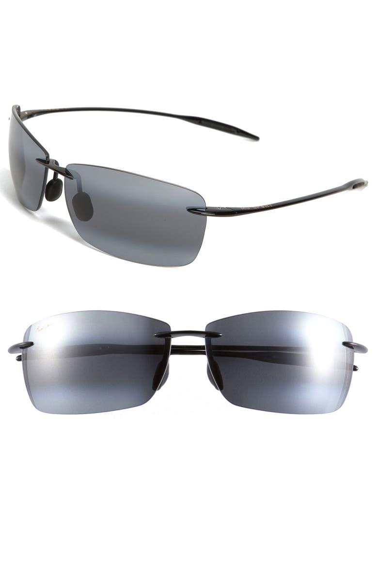 MAUI JIM Lighthouse 65mm PolarizedPlus2<sup>®</sup> Oversize Rimless Sunglasses, Main, color, GLOSS BLACK