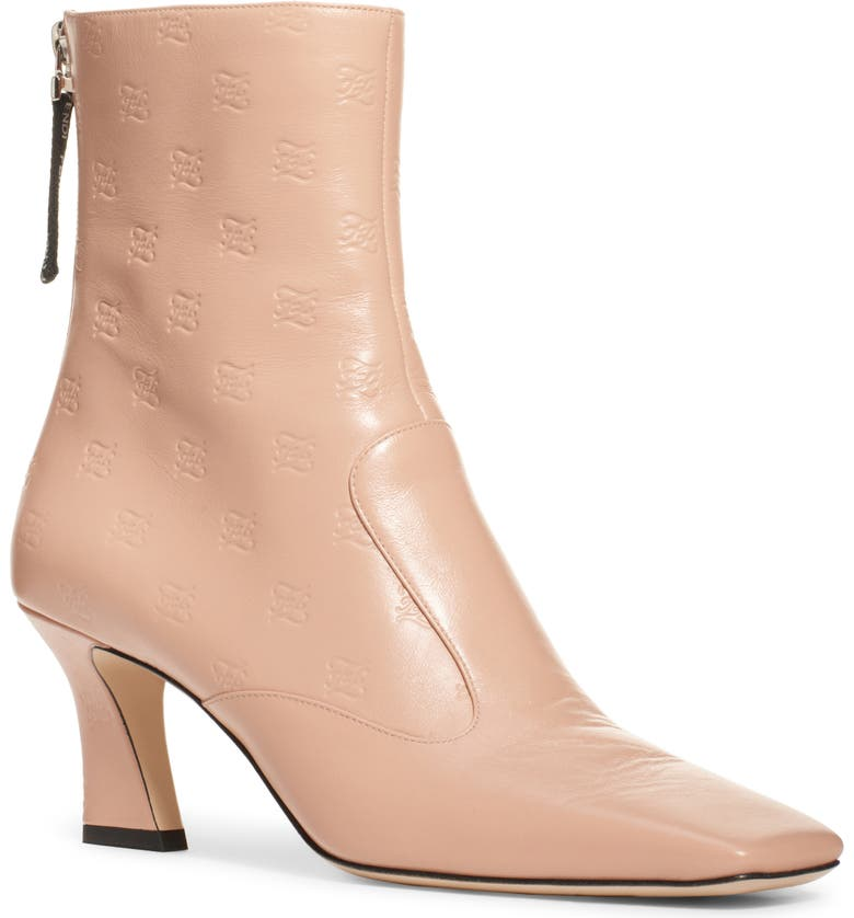 FENDI Karligraphy Embossed Logo Square Toe Bootie, Main, color, BLUSH