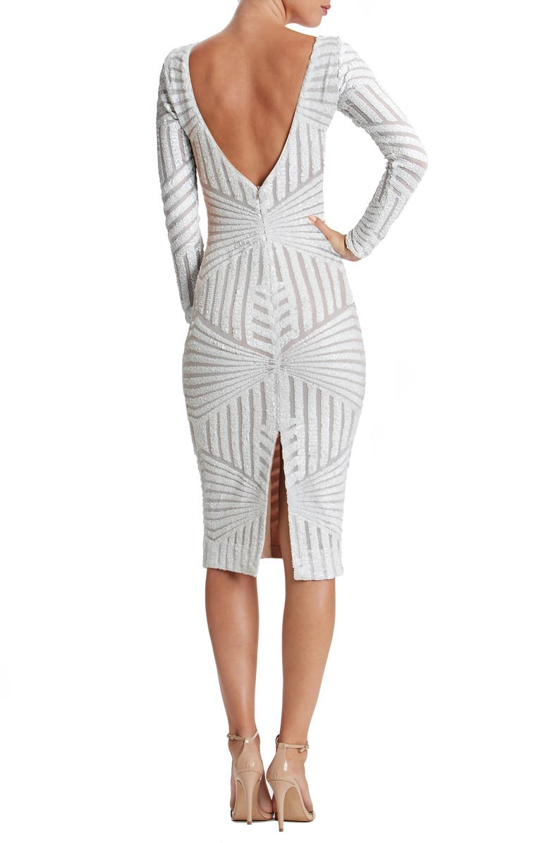 DRESS THE POPULATION Emery Sequin Stripe Long Sleeve Cocktail Dress, Main, color, 100