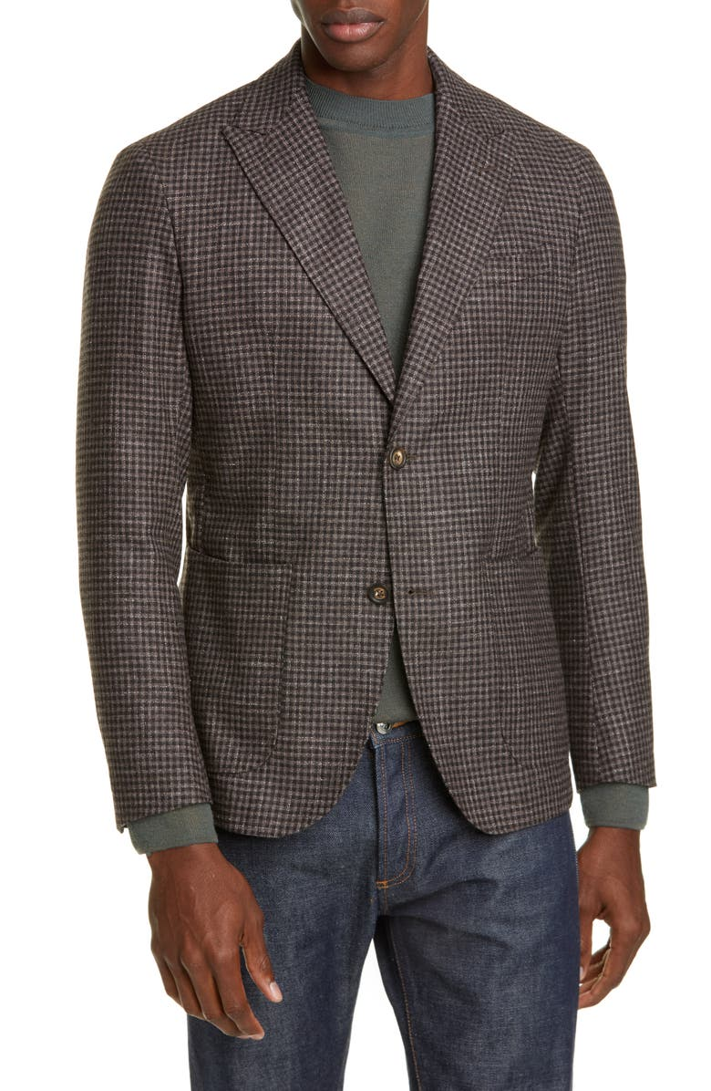 ELEVENTY Slim Fit Check Wool Blend Sport Coat, Main, color, 201
