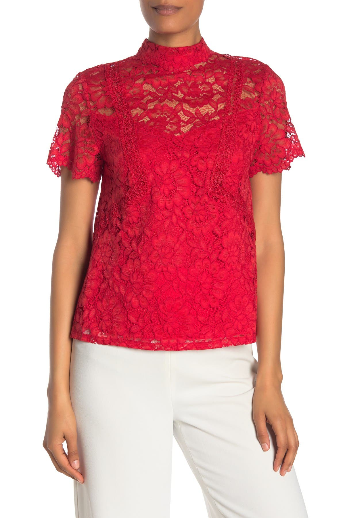 Image of Laundry By Shelli Segal Lace Mock Neck Top
